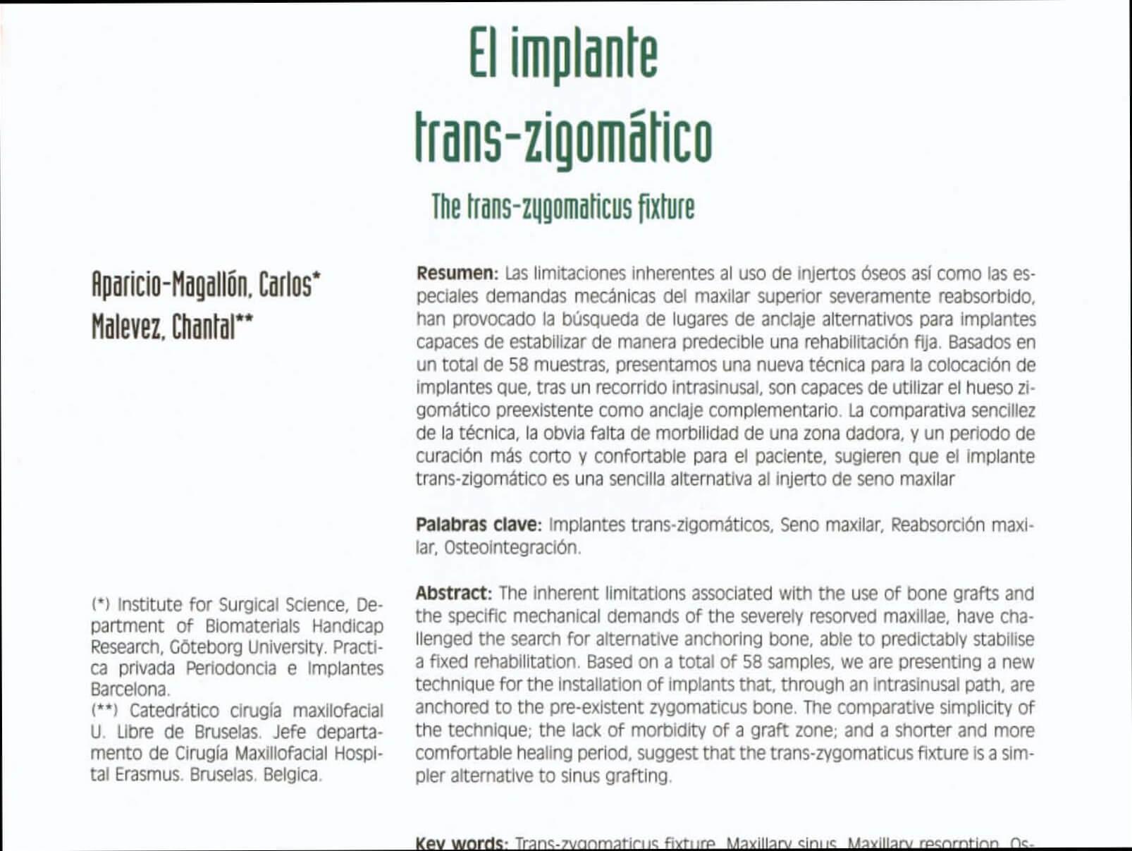 1999 El Implante Transzigomatico